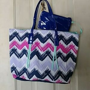 Handbags - Blue and pink canvas tote nwt